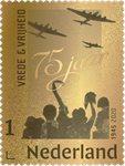 Pays-Bas - 75e anniversaire de la libération de la   Hollande, timbre en or 24 carats - Bloc-feuillet neuf