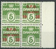 Danemark - AFA 245x neuf sans ch. pos. 50, bloc de  4