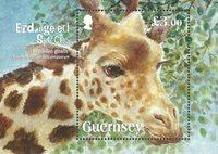Guernsey - Truede dyr Giraffen - Postfrisk miniark
