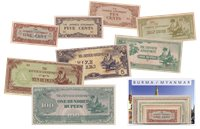 Burma 1942-1944 - 1, 5, 10 cents, 1/4, 1/2, 1, 5, 10, 100 Roupies - 9 billets de banque