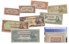 Burma 1942-1944 - 1, 5, 10 Cents, 1/4, 1/2, 1, 5, 10, 100 Rupees - 9 pengesedler