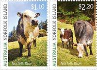 Norfolk Island - Blå ko - Postfrisk sæt 2v
