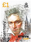 Guernesey - Beethoven / Portrait - Timbre neuf