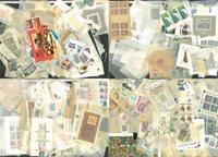 Diverse lande - Kasse med miniark, blokke og enkeltmærker
