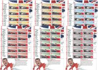 Jersey - Set of 6 cancelled souvenir sheets - Nigel Mansell 2013