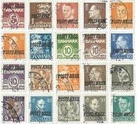 Danmark 1936-1974 - 20 postfærgemærker - AFA PF 19-23+26-32+34-37+39+42- 43+45 - Stemplet