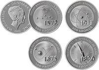 Danmark 2013 - 4 Videnskabsmønter - 500 kr. - Sølv