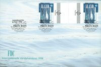 Åland 1998 - Env.premier jour avec gutterpair - LAPE no.  142