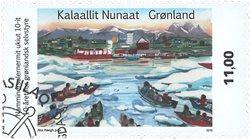 10-året for selvstyre i Grønland - Førstedagsstemplet - Frimærke