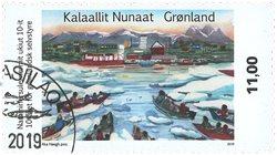 10-året for selvstyre i Grønland - Dagstemplet - Frimærke