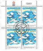 50-året for FN's postdag - Førstedagsstemplet - 4-blok øvre marginal