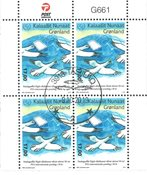 50th World Post Day - Date cancellation - Block of four upper marginal