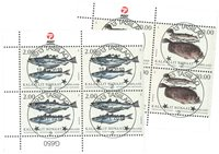 Fish in Greenland II - Central date cancellation - Block of four lower marginal