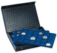 coin Presentation Case L incl. 4 coin trays, blue
