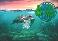 Liechtenstein - Broderet frimærke af plastaffald fra verdenshavene - Maximumskort