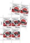 EUROPA - Gamle postale ruter - Centralt dagstemplet - 4-blok øvre marginal