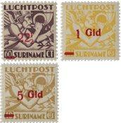 Suriname - Luchtpostzegels Mercuriuskop 1945 (nr.LP24-LP26, postfrisk)