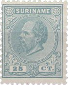 Suriname - 25 ct groenblauw Willem III (nr. 10, ongebruikt)