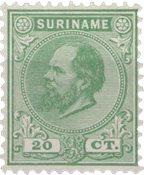 Suriname - 20 ct groen Koning Willem III (nr. 9, ongebruikt)