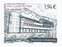 Fransk Andorra - Liceu Comte de Foix - Postfrisk frimærke