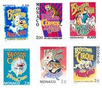 Monaco 1987-1994 - YT 1596, 1659, 1703, 1753, 1854, 1923 - Postfrisk