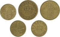 Danmark - 5 forskellige danske mønter