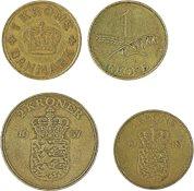 Danmark - 4 forskellige danske mønter
