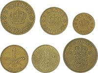Danmark - 6 forskellige danske mønter
