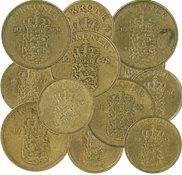 Danmark - 12 danske mønter incl.dubletter