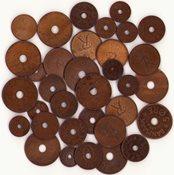 Danmark - Dubletlot med danske bronze-mønter