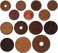 Danmark - 14 forskellige danske bronze-mønter