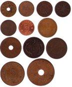 Danmark - 12 forskellige danske bronze-mønter