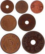 Danmark - 7 forskellige danske bronze-mønter