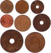Danmark - 8 forskellige danske bronze-mønter