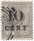 Suriname - 10 op 15ct grijs uit de hulpuitgifteserie 1898 (nr. 30, gebruikt