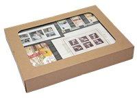 Scatola di francobolli mondiali e fogl. Austria Cigni
