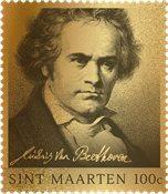 St. Martin - Beethoven Guld frimærke - Postfrisk frimærke i boks