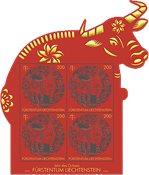 Liechtenstein - Oksens år - Postfrisk miniark med papirklip