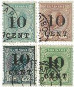 Suriname - Hulpuitgifte losse waardes (nr. 29+31+32+33, gebruikt)