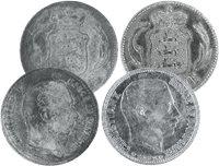 Danmark - 2 forskellige 1 kr. sølvmønter