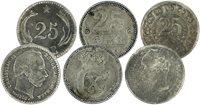 Danmark - 3 forskellige 25 øre sølvmønter
