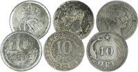 Danmark - 3 forskellige 10 øre sølvmønter