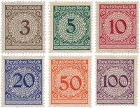 Tyske Rige 1923 - Michel 338-43 - Postfrisk