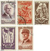 France 1943 - YT 576-80 - Oblitéré