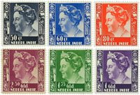 Nederland Indië - Koningin Wilhelmina op groot formaat (nr. 205-210, ongebr