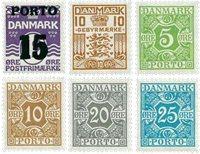 Danmark - 6 porto- og gebyrmærker - Postfrisk