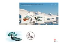 Groenland - Fishes'21 - FDC met souvenirvelletje