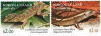 Norfolk Island - Firben - Stemplet sæt 2v
