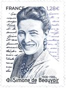 Frankrig - Simone de Beauvoir - Postfrisk frimærke