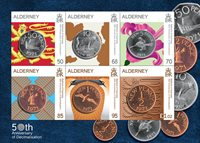 Alderney - 50-året for decimalisering af pundet - Postfrisk miniark